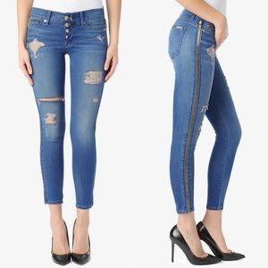 Hudson Crop Sid Zipper Super Skinny Jeans